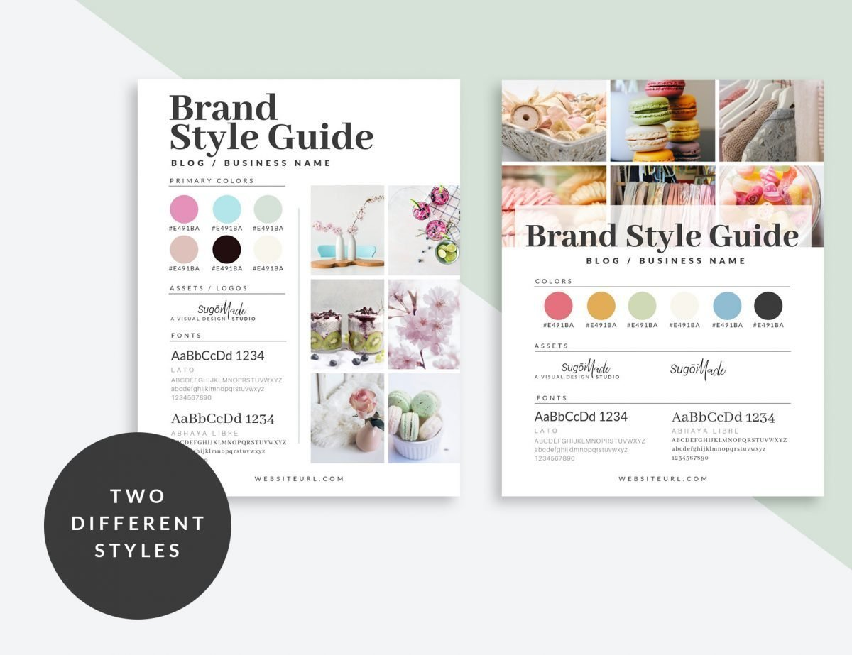 Two different visual brand style guide templates to choose from. Made with Canva for easy customization. - The Side Blogger