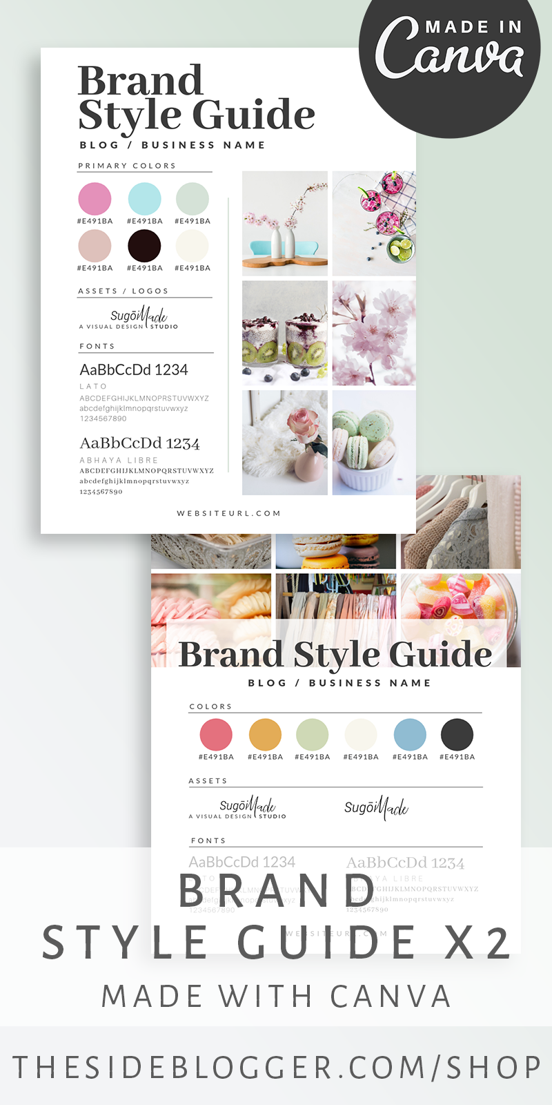 2 templates for curating a brand board / brand style guide. Everything you need for your visual branding in one place. Made with Canva for easy customization. Choose from one of the two styles to match your unique aesthetics. - The Side Blogger