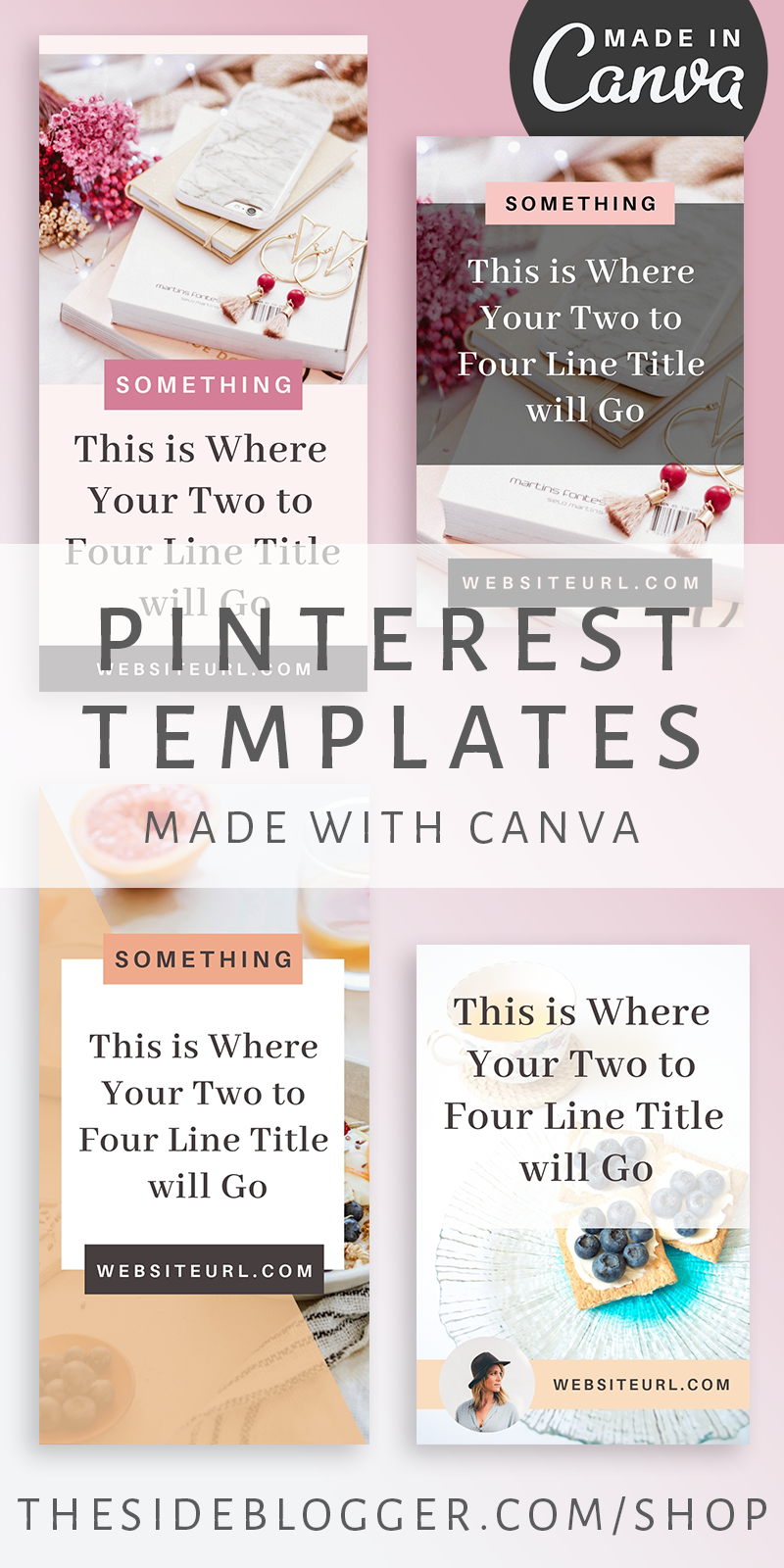 Pinterest templates made in Canva. 12 templates, two sizes. Save time and attract potential clients and the perfect and ideal audience to your blog or business website with these beautifully designed pins. Easily customize with Canva to match your branding! - The Side Blogger #pinterest #canva #blogging #contentmarketing #digitalmarketing