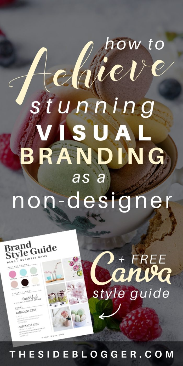 A comprehensive guide to creating a stunning visual style guide for your brand by The Side Blogger. Also includes a FREE style guide template made with Canva. #blogger #blogging #design #branding #canva