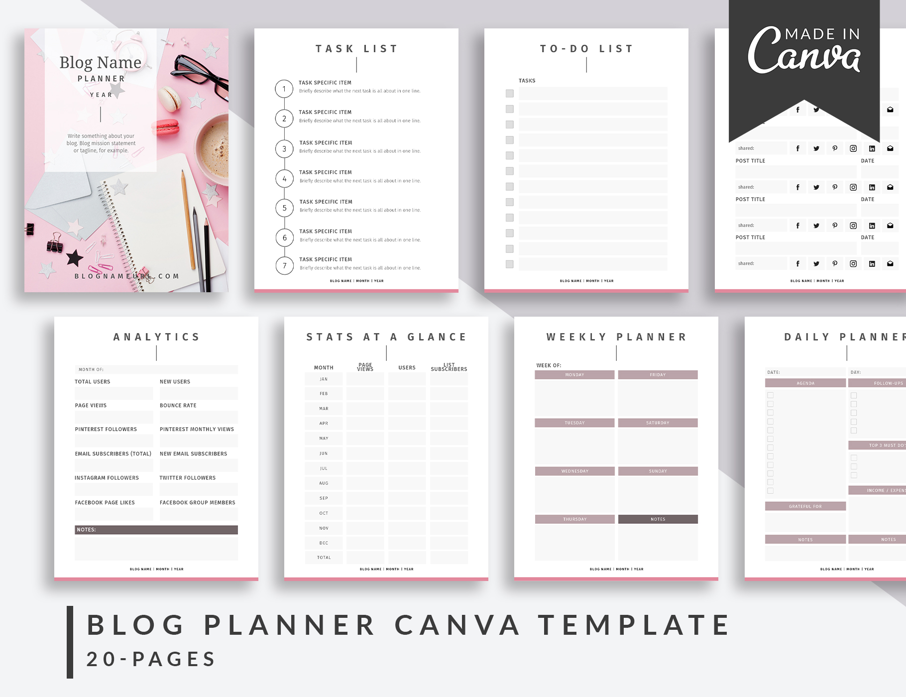 photograph relating to Blog Planner Template known as Blog site Planner Canva Template Glazed The Facet Blogger