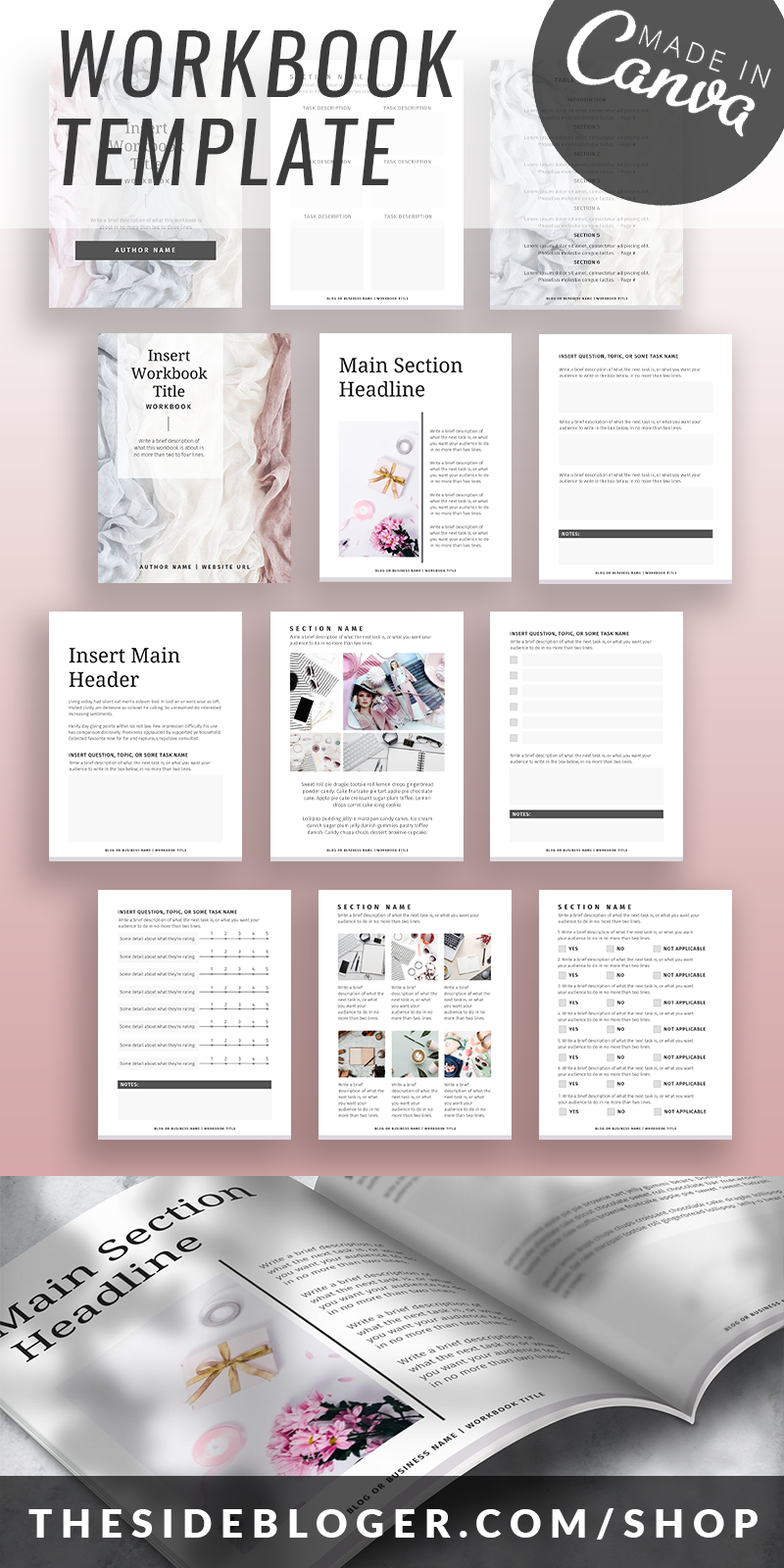 A Workbook template made with Canva, perfect for bloggers, influencers and educators.