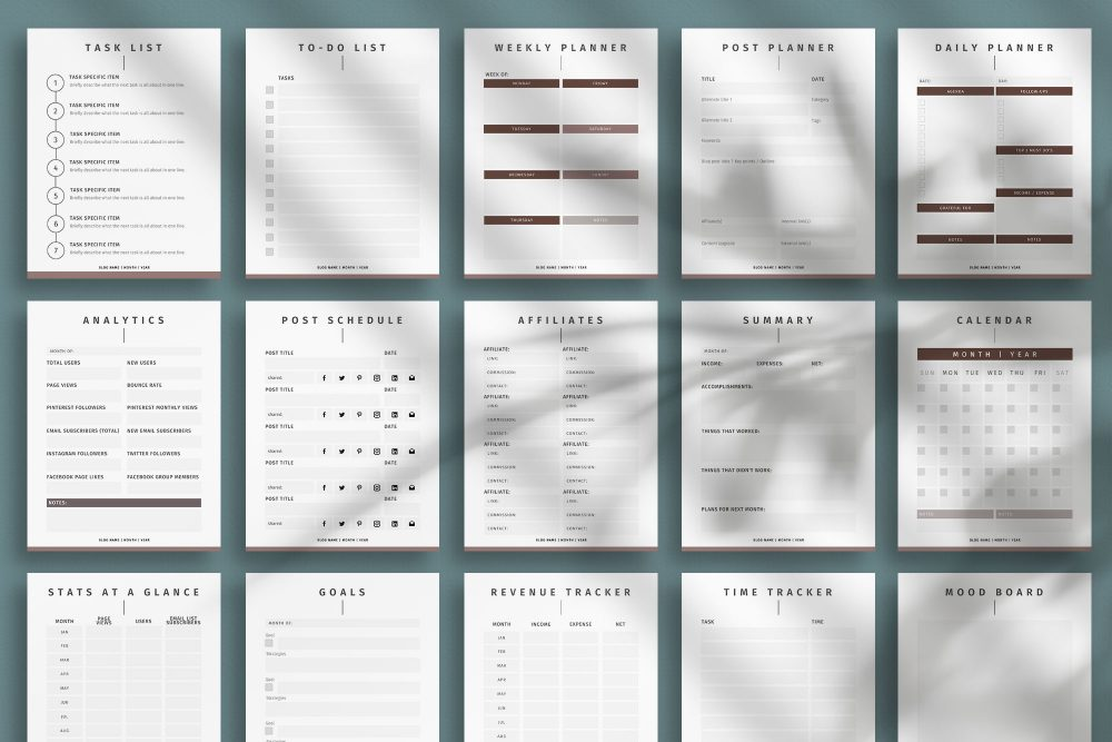 Blog planner Canva template - Glazed