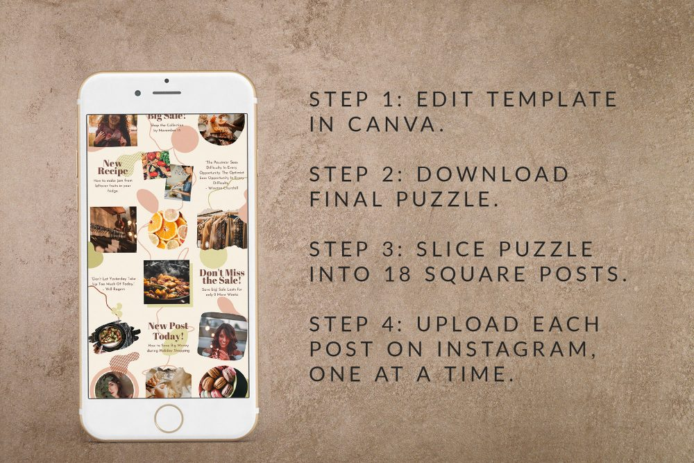 Instagram Puzzle Template - Harmony - Creates 18 Square Posts